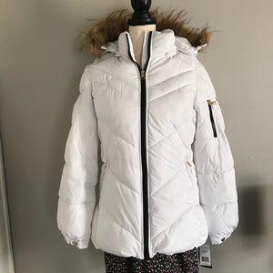 White Madden Girl Coat with Fur Hood